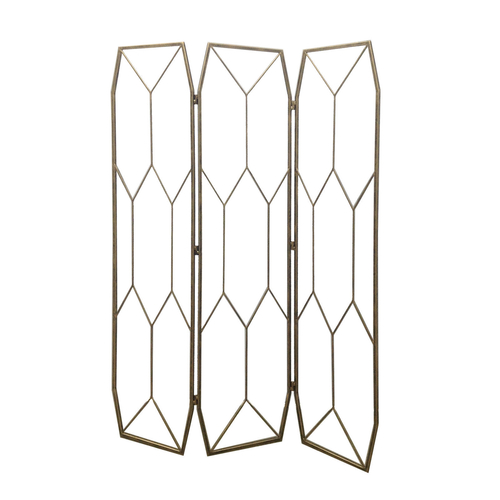 Platonic Antique Gold 3 Panel Decorative Screen