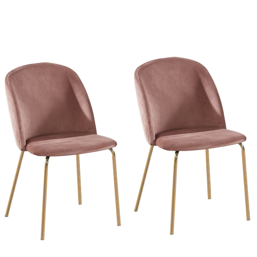 Dale Velvet Dining Chairs with Golden Finish Metal Legs (Pink)