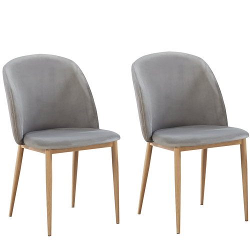 Bradley Velvet Dining Chairs with Wood Effect Metal Legs (Light Grey)
