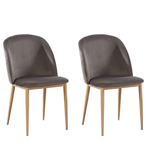 Bradley Velvet Dining Chairs with Wood Effect Metal Legs (Grey)