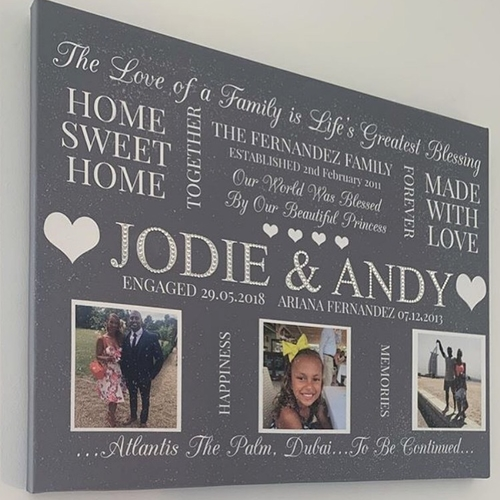 Personalised Photo Word Art Glitter Canvas (design 2)