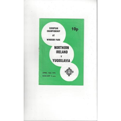 1975 Northern Ireland v Yugoslavia Football Programme