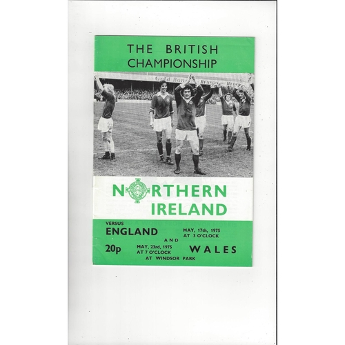1975 Northern Ireland v England & Wales Football Programme