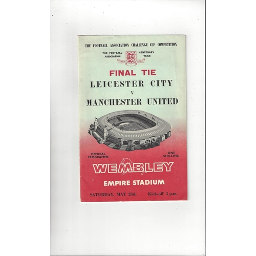 1963 Leicester City v Manchester United FA Cup Final Football Programme