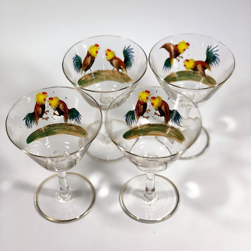 Mid 20th Century glass cockerel cocktail shaker and glasses