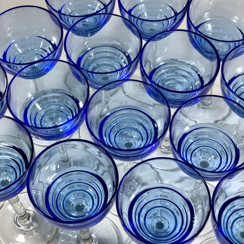 8 Art Deco blue Uranium tall stem small cocktail glasses