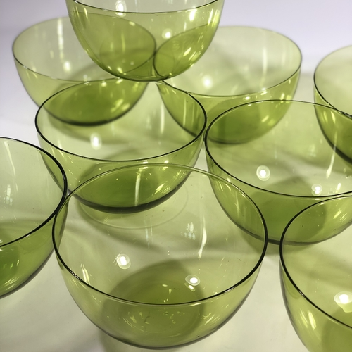 Chartreuse green glass bowls