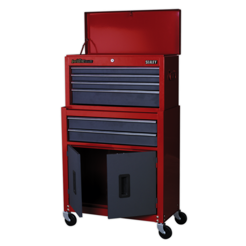 Topchest & Rollcab Combination 6 Drawer with Ball Bearing Slides - Red/Grey - Sealey - AP2200BB