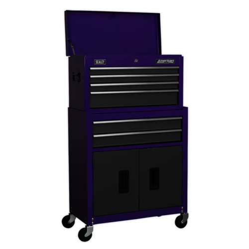 Topchest & Rollcab Combination 6 Drawer - Purple/Grey - Sealey - AP2200BBCP