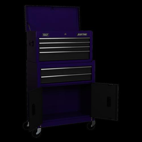 Topchest & Rollcab Combination 6 Drawer - Purple/Grey - Sealey - AP2200BBCP