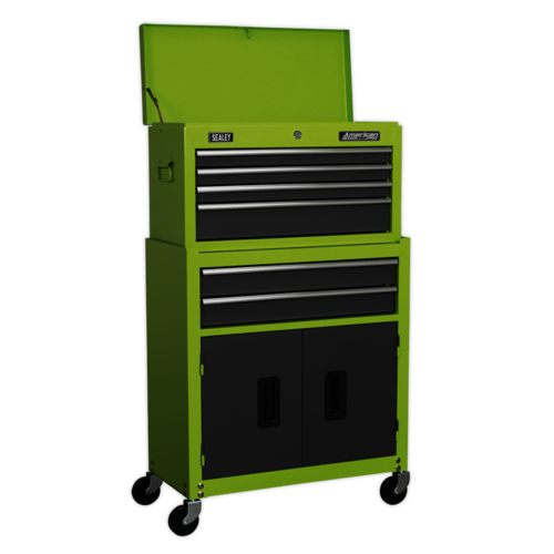 Topchest & Rollcab Combination 6 Drawers - Hi-Vis Green/Grey - Sealey - AP2200BBHV