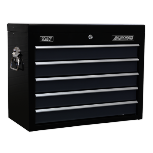 Topchest 5 Drawer with Ball Bearing Slides - Black/Grey - Sealey - AP3505TB