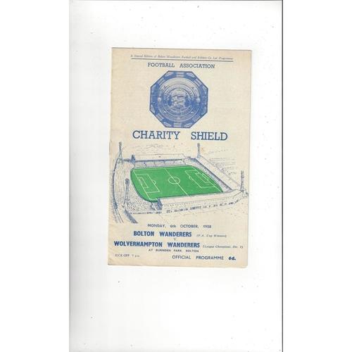 1958 Bolton Wanderers v Wolves Charity Shield Football Programme
