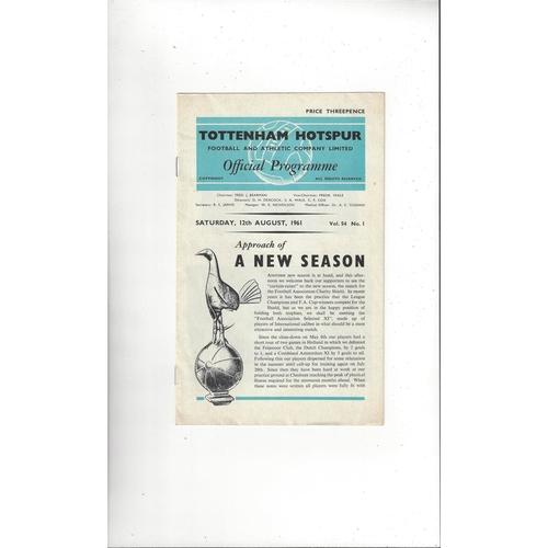 1961 Tottenham Hotspur v FA Select X1 Charity Shield Football Programme