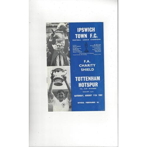 1962 Ipswich Town v Tottenham Hotspur Charity Shield Football Programme