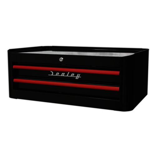 Mid-Box 2 Drawer Retro Style - Black with Red Anodised Drawer Pulls - Sealey - AP28102BR