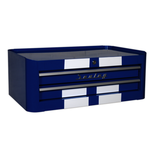 Mid-Box 2 Drawer Retro Style - Blue with White Stripes - Sealey - AP28102BWS