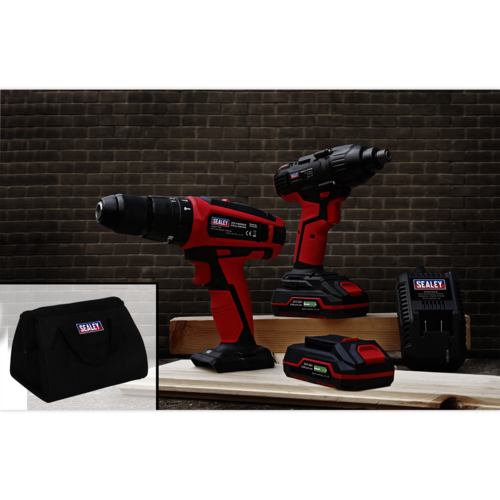 "Cordless 13mm Hammer Drill/1/2""Sq Drive Impact Wrench Combo Kit - CP20VDDCOMBO"