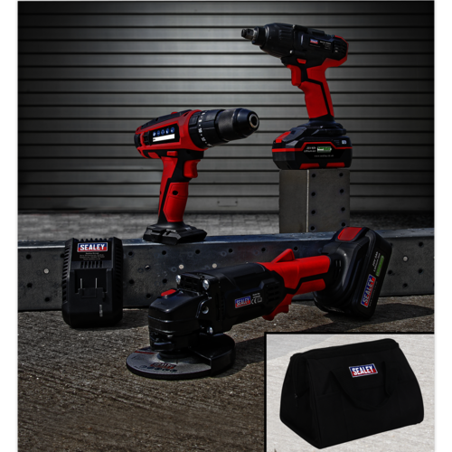 """20V Cordless 13mm Hammer Drill/1/2""""Sq Drive Impact Wrench/Ø115mm Angle Grinder - Sealey - CP20VCOMBO1"""