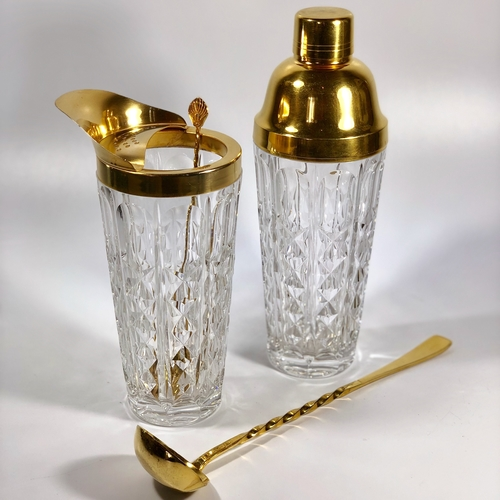 Gold plated Val Saint Lambert cocktail kit