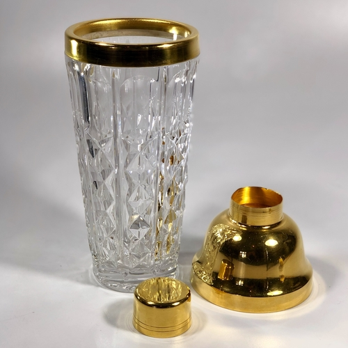 Gold plated Val Saint Lambert cocktail kit