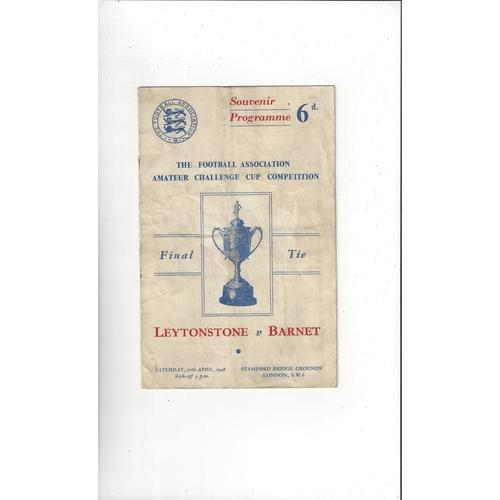 1948 Leytonstone v Barnet Amateur Cup Final Football Programme @ Chelsea