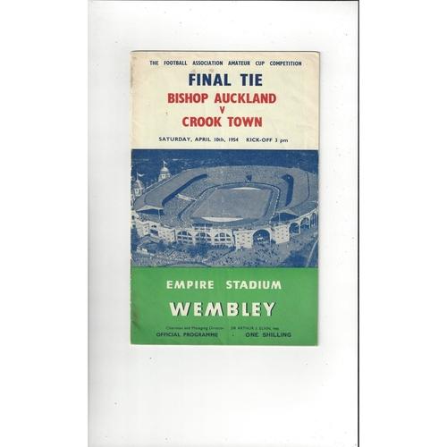 1954 Bishop Auckland v Crook Town Amateur Cup Final Football Programme