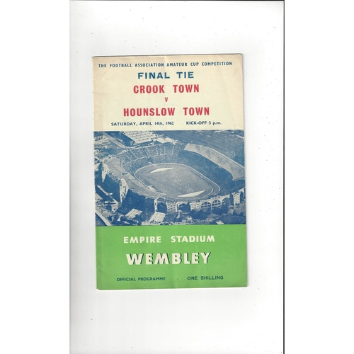 1962 Crook Town v Hounslow Town Amateur Cup Final Football Programme
