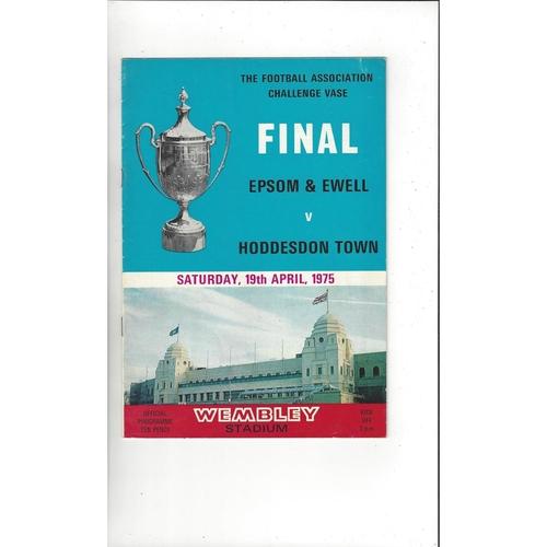 1975 Epsom & Ewell v Hoddesdon Town FA Vase Final Football Programme