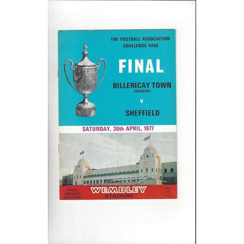 1977 Billericay Town v Sheffield FC FA Vase Final Football Programme