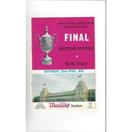 1978 Barton Rovers v Blue Star FA Vase Final Football Programme