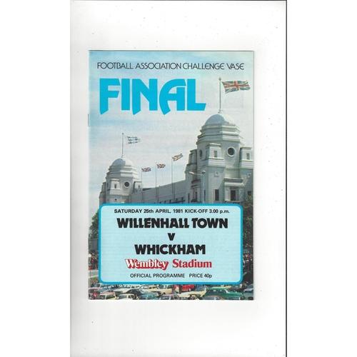 1981 Willenhall Town v Whickham FA Vase Final Football Programme
