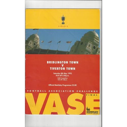 1993 Bridlington Town v Tiverton Town FA Vase Final Football Programme