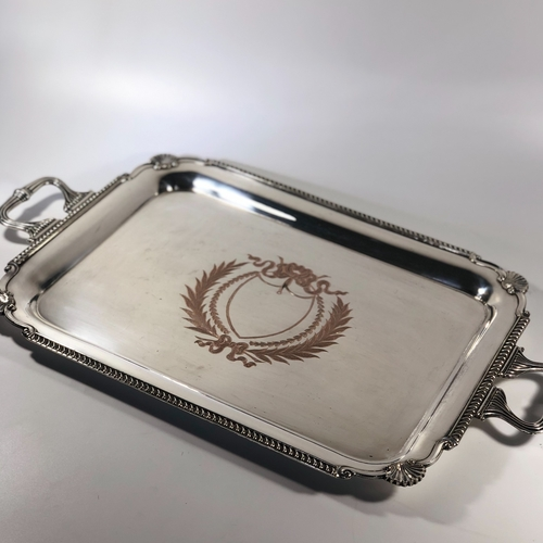 Heavy gauge wreath engraved silver plated serving tray