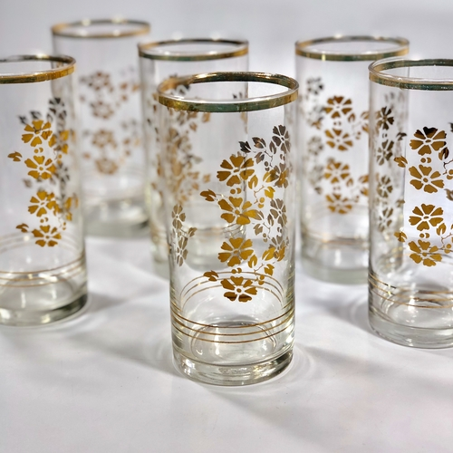 Set of gold plated glass tumblers 1950s