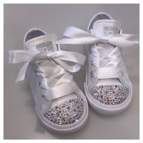 Sparkly Diamante Converse Metallic White