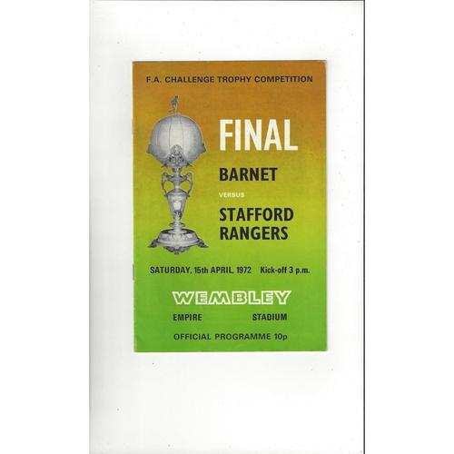 1972 Barnet v Stafford Rangers FA Trophy Final Football Programme