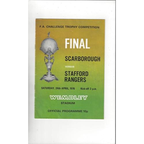 1976 Scarborough v Stafford Rangers FA Trophy Final Football Programme