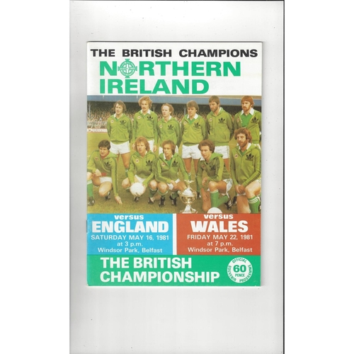 1981 Northern Ireland v England & Wales Double Football Programme