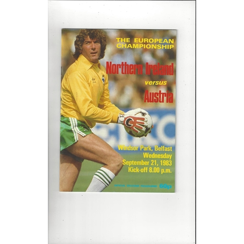 1983 Northern Ireland v Austria Football Programme
