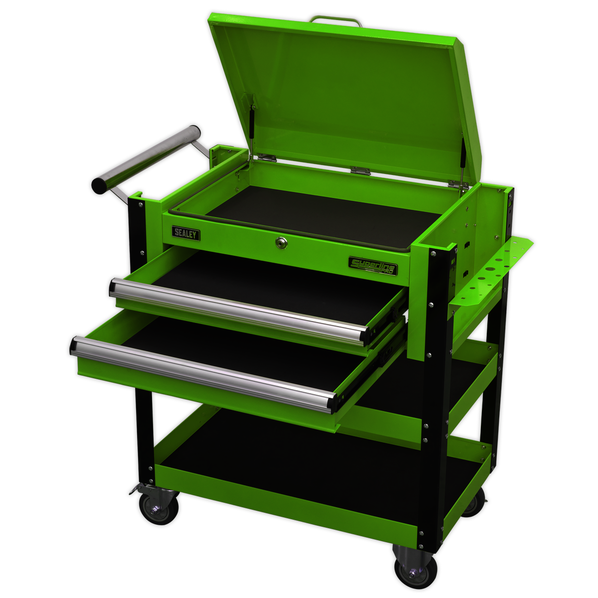 Green Sealey Heavy-Duty Mobile Tool Parts Trolley 2 Drawers /& Lockable Top