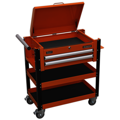 Heavy-Duty Mobile Tool & Parts Trolley 2 Drawers & Lockable Top - Sealey - AP760MO