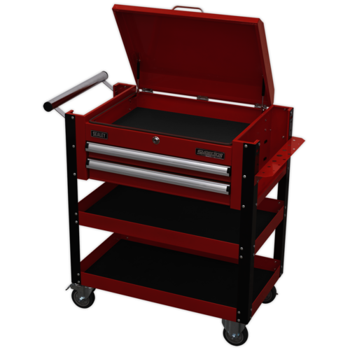 Heavy-Duty Mobile Tool & Parts Trolley 2 Drawers & Lockable Top - Sealey - AP760M