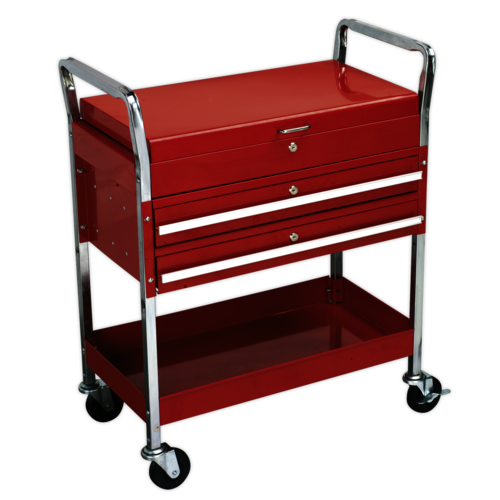 Trolley 2-Level Heavy-Duty with Lockable Top & 2 Drawers - Sealey - CX1042D