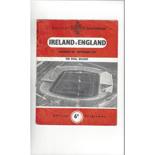 1957 Northern Ireland v England Amateur International Football Programme