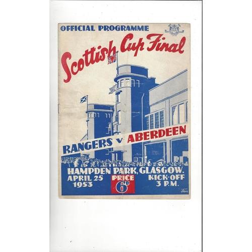 1953 Rangers v Aberdeen Scottish Cup Final Football Programme
