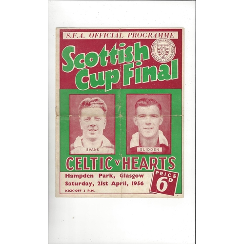 1956 Celtic v Hearts Scottish Cup Final Football Programme