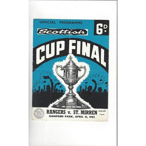 1962 Rangers v St Mirren Scottish Cup Final Football Programme