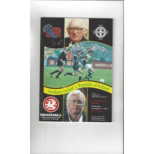 1993 Northern Ireland v Republic of Ireland Football Programme