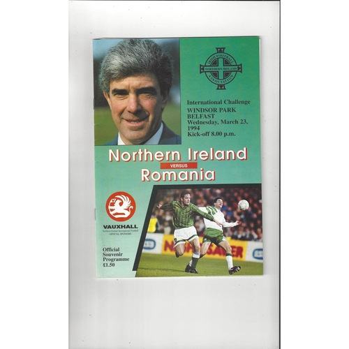 1994 Northern Ireland v Romania Football Programme + Poster